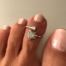 Bypass Toe Ring, Star Ring Sterling Silver Diamond Star Toe Ring,
