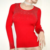 PULL ROUGE femme manches longues chandail ras du cou maillot underjacket A15