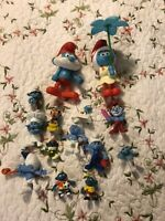Vintage Peyo Rubber Smurf Figures Toy Lot Papa Smurf Soccer Gilgamesh Clown Set