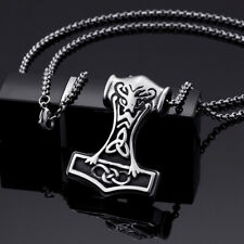 HOt sale Stainless Steel Biker Thor's hammer Pendant Mens rolo Necklace 24''