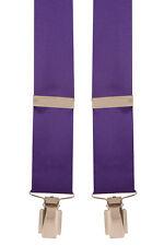 Purple Satin Silk Wedding Coordinate Trouser Braces Mens Suspender