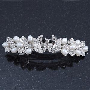 Bridal Wedding Prom Silver Tone Simulated Pearl Crystal 'Love Birds' Barrette