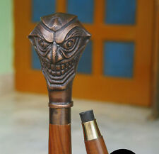 Joker Hand Crafted Brass Curved Funny Hardwood Walking Stick antique look Style
