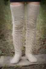 Handmade High knee socks beige Thigh Leg Warmers goat down cashmere warm craft