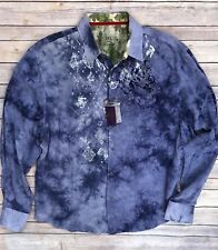 Calypso Homme NWT Mens Tie Dye Blue Graphic Shirt MSRP $99.50 Size 2XL