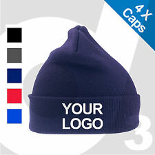 4X Personalised Embroidered / Printed Woolly Ski Beanie Custom Hat Cap Text/Logo