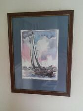 """""""Sailing into Key West Harbor"""" by RE Kennedy Reproduction Print Framed 12x10"""