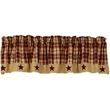 "BURGUNDY FARMHOUSE STAR Lined Window Valance 72"" x 14"", by The Country House"
