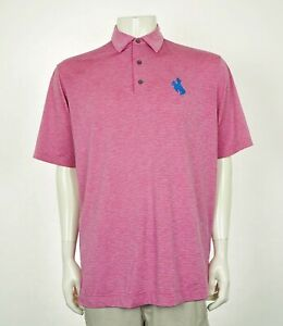 FootJoy FJ Wyoming Cowboys Pink Tech Golf Polo Shirt Mens Large