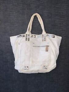 GENUINE - MARC JACOBS OFF WHITE STUDDED BEACH BAG