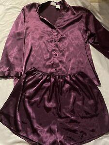 Vintage Secret Treasures 2 Piece Pajama Set Long Sleeve Shorts Large