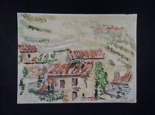 Delizioso acquerello dipinto villaggio in Toscana 1966 da Karl Bopp Francoforte