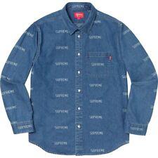 Supreme Logo Denim Shirt Blue