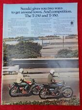 1972 SUZUKI T-250 T-350 MAGAZINE ADVERTISING AD FULL PAGE COLOR