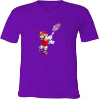 Nintendo Super Mario Tennis Unisex Men Women V-Neck Fun Sport Video Game T-Shirt