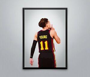 Trae Young Posters NBA Hawks Prints Basketball Sport Wall Art Print 3 Sizes