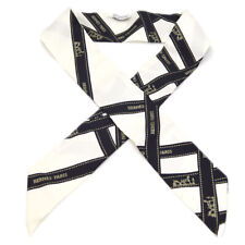 HERMES Twilly Scarf Stole Silk Bag Handle Accessories Black White 61126