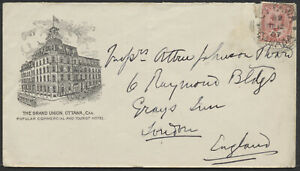 1907 The Grand Union Hotel Cover, Advertising Both Sides, Ottawa to England