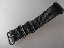 Nato Band Zulu Nylon Uhrenarmband schwarz 24 mm  Edelstahl Rundringe schwarz