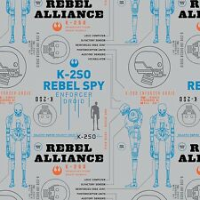Star Wars Rogue One Rebel Alliance K-2S0 By the yard Cotton Print