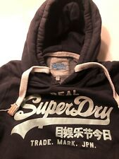 Women's superdry hoodie small (navy With turquoise glitter logo)