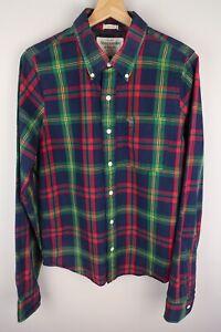 Abercrombie & Fitch Men Casual Shirt Check Blue Cotton size L