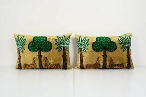 Tiger Design Ikat Velvet Pillow, Set of Two Silk Lumbar Cushion Cover
