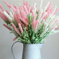 12Têtes feuilles artificielles fleur de lavande Bouquet jardin mariage Décor^-^