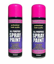 2x Multi-Purpose Pink Gloss Varnish Spray Paint DIY Car Metal Plastic Wood 250ml