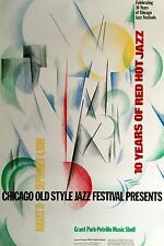 "10TH ANNUAL CHICAGO JAZZ FESTIVAL 1988 ORIGINAL POSTER 34 3/4"" X 22 7/8"" MINT"