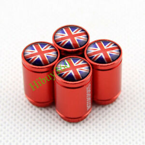 4X Red Britain UK Flag Car Wheel Tire Valve Stem Caps Dust Cover For Mini Cooper