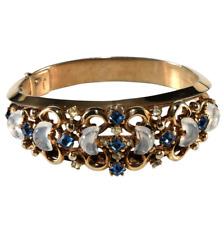 Trifari Clair de Lune Bracelet Blue Rhinestones Glass Moonstones VTG 1950 Hinged