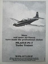 1980-1982 PUB PILATUS PC-7 TURBO TRAINER SWISS AIRCRAFT FLUGZEUG ORIGINAL AD