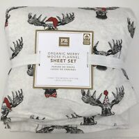 Pottery Barn Teen Merry Moose Organic Flannel Sheet Set Twin XL White #8318