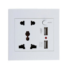 2 USB Wall Socket Charger Power Outlet Plate Panel Station Plug Switch White