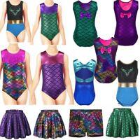 Girl Metallic Tutu Dress Tank Top Kid Gymnastic Leotards Jazz Ballet Dancewear