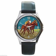 THE SPORT OF KINGS VINTAGE  HORSE RACING Round Silver Metal Watch Leather Band