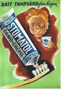 Original vintage poster STOMATOL BOY ENJOY TOOTHBRUSHING 1948