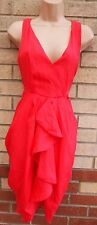 FEE RED PINKY RED FRILLY A LINE PARACHITE V NECK A LINE SKATER TEA DRESS 10 12