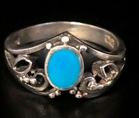 Vintage Sterling Silver Ring 925 Size 6 Turquoise Band Filigree JC signed