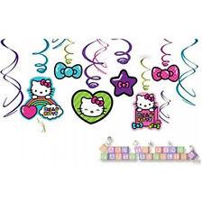 HELLO KITTY Rainbow HANGING SWIRL DECORATIONS (12) ~Birthday Party Supplies Pink