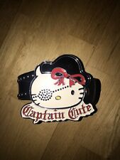 "HELLO KITTY SANRIO LICENSED""CAPTAIN CUTE"" ENAMEL BUCKLE BLACK STUD LEATHER BELT"