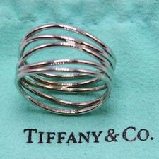 Tiffany & Co Elsa Peretti 5 Row Wave Ring in 18K White Gold Size 8.75