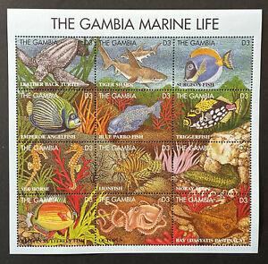 GAMBIA MARINE LIFE STAMPS SHEET 1995 MNH SEA LIFE SHARK TURTLE OCTOPUS RAY FISH