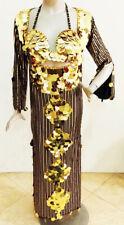 Egyptian Belly Dance Baladi Galabeya Women Dress Dancing Costume Black w/Gold