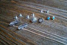 Earrings Set Rhinestones Silver Feather Heart Gypsy Boho Cowgirl Fashion Jewelry