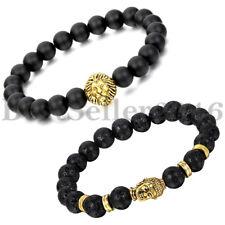 2pcs Women Men Lava Rock Matte Black Stone Lion Head Buddha Beaded Bracelet Bead