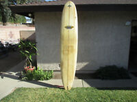 Vtg 9' Long Surf Board Robert August Minchinton Model Tri Fin Longboard FunBoard