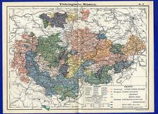Alte Landkarte Deutsche Länder Thüringen Thüringer Staaten Gotha Reuss  1890