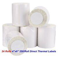 24 Rolls 4x6 Direct Thermal Labels 250/Roll For Zebra Eltron ZP450 2844 GK420D